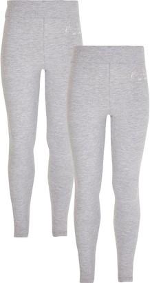 River Island Girls Grey RI fold over waist 2 pack leggings