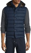 Moncler Jean Christophe Wool Down Vest w/Detachable Hood, Navy