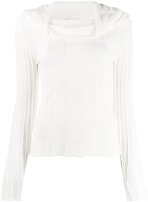 Agnona Cowl Neck Ribbed Knit Top