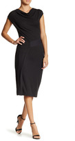 Halogen Draped Neck Faux Wrap Dress (Petite)