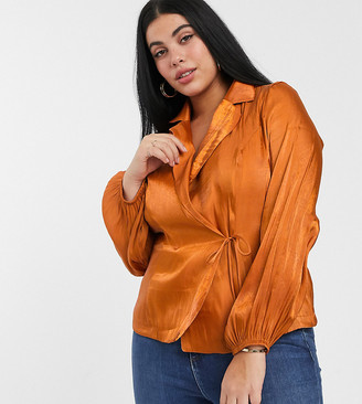 Glamorous Curve tailored blouse with tie front in luxe satin