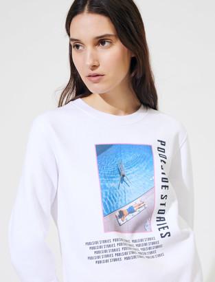 Maje White screen-printed sweatshirt