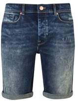 Burton Burton Mid Blue Stretch Rip And Repair Denim Shorts