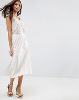 Asos WEDDING Slinky Drape Front Midi Dress