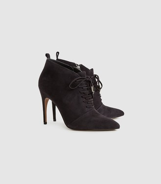 Reiss AIDA SUEDE SUEDE POINT TOE LACE UP HEELS Chocolate