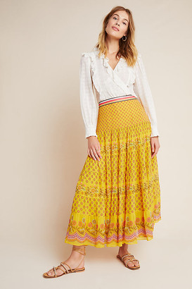 Calinda Maxi Skirt By Tanvi Kedia in Yellow Size 0