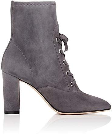 Gianvito Rossi Women's Suede Lace-Up Ankle Boots - Dark Grey