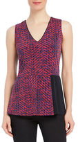 Ellen Tracy Chevron Printed Sleeveless Peplum Top