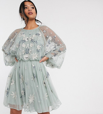 Asos Edition EDITION Petite floral beaded mesh dress with balloon sleeve-Grey