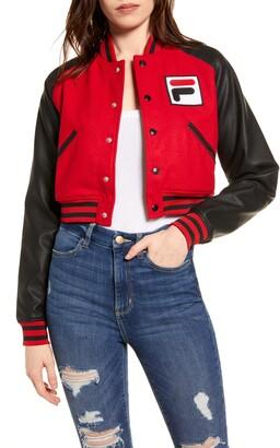 Fila Rosalie Sequin Logo Crop Bomber Jacket