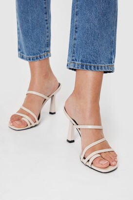 Nasty Gal Womens Feelin' Strappy Faux Leather Stiletto Heels - Off White