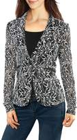 Allegra K Women's Shawl Collar Sheer Floral Lace Blazer Jacket L