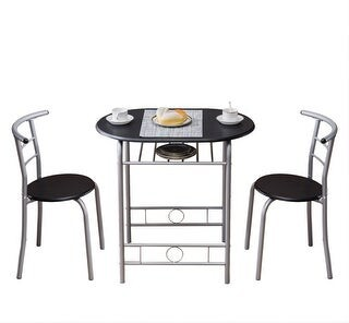 Overstock Breakfast Bar Table with 2 Bar Stools Set Kitchen Counter with Bar Chairs Black
