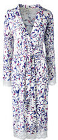 Classic Women's Petite Bracelet Sleeve Knee Length Print Robe-Ivory Multi Vines