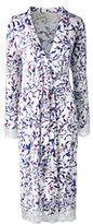 Classic Women's Plus Size Bracelet Sleeve Knee Length Print Robe-Soft Rose Print