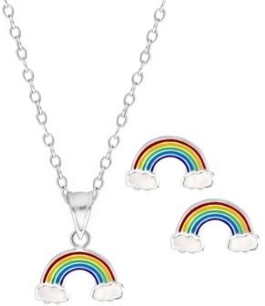 Rhona Sutton 4 Kids Children's Rainbow Pendant Necklace Stud Earrings Set in Sterling Silver