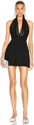 Area Satin Lapel Gilet Dress in Black | FWRD