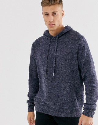 Cotton On knitted hoodie in navy marl