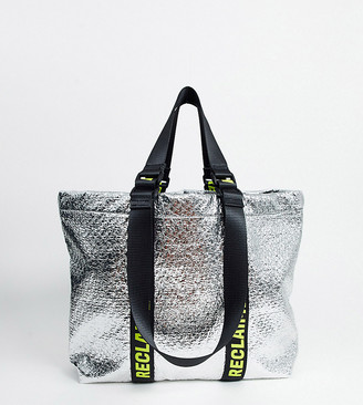 Reclaimed Vintage inspired silver metallic tote with branded straps