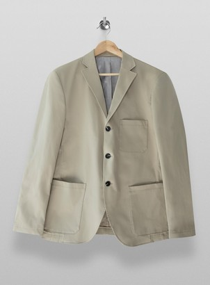 Topman SELECTED HOMME Cream Slim Fit Single Breasted Suit Blazer With Notch Lapels