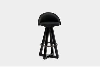 "Artless X3 Swivel 30"" Bar Stool Upholstery: Canyon, Color: Black Brass Oak"