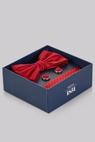 Moss Bros Red Silk Bow Tie. Pocket Square and Cufflink Set