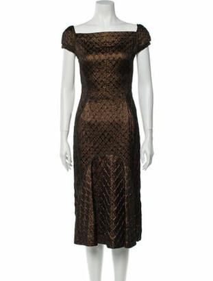 J. Mendel Square Neckline Midi Length Dress Brown