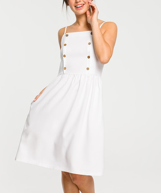 BeWear Women's Casual Dresses white - White Button-Accent Sleeveless Dress - Women