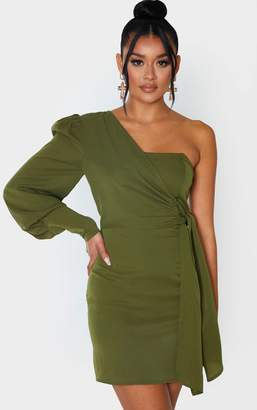 PrettyLittleThing Khaki Detail Tie One Shoulder Bodycon Dress