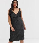 Koko velvet pinstripe midi dress