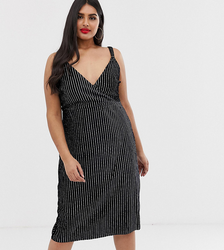 Koko velvet pinstripe midi dress