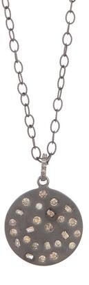 ADORNIA Sterling Silver Inlaid Diamond Mosaic Circle Pendant Necklace - 1.5 ctw