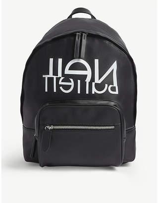 Neil Barrett Logo print faux leather backpack