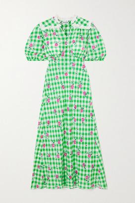 Rixo Gwen Gingham Floral-print Crepe Midi Dress - Green