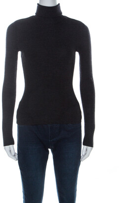 Ralph Lauren Charcoal Grey Ribbed Wool Turtleneck Fitted Sweater S