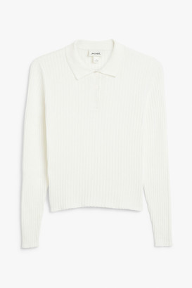 Monki Ribbed polo top