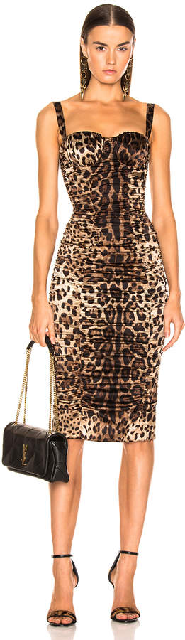 Dolce & Gabbana Leo Print Silk Ruched Dress in Cheetah | FWRD