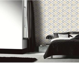 Arthouse Ikat Geo Ochre & Grey Vinyl Wallpaper