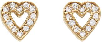 Jennifer Meyer Diamond Mini Open Heart Stud Yellow Gold Earrings