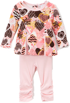 Baby Nay Pink Crazy Hearts Top & Leggings - Infant