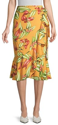 PatBO Zebrina Floral Ruffle Wrap Skirt