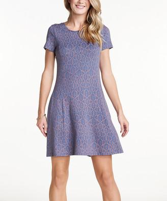 Toad&Co Women's Casual Dresses Blueberry - Blueberry Batik Dot Windmere Dress - Women
