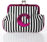 Melie Bianco White Black Pink Leather Striped Small C Monogram Handbag
