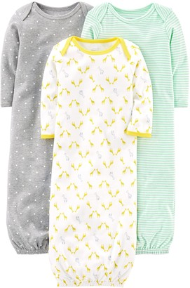 Simple Joys by Carter's Baby 3-Pack Cotton Sleeper Gown Grey/White Newborn