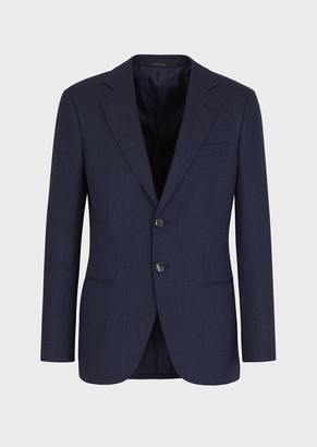 Giorgio Armani Regular-Fit, Single-Breasted Jacket In Denim-Look Flannel From The George Line