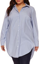Boutique + Boutique+ Long-Sleeve Button-Front Tunic Shirt - Plus