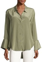 Halston Long-Sleeve Wide-Cuff Washed Silk Shirt, Green
