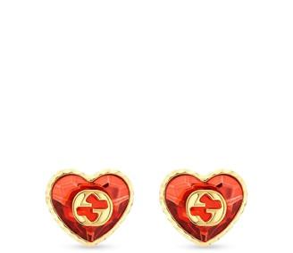 Gucci Interlocking G crystal heart earrings
