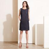 Ralph Lauren Leather-Trim Denim Dress