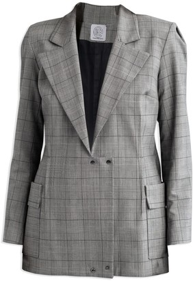 Cleo Prickett Dual Tailored Jacket In Glen Check 98% Wool From Savile Row